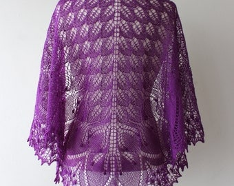 Purple merino lace shawl, hand knitted triangular Estonian lace, summer shawl