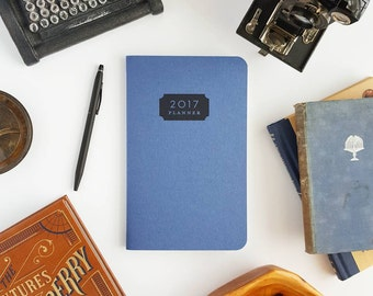 "2017 Planner — Typhoon, Deep Blue Hand Lettered Minimalistic Planner — 5"" x 8"""