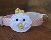 Easter Dog Collar - White Easter Chick on Light Pink Gingham Collar with Light Yellow Beak