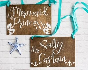 Nautical Bride & Groom Sign - Nautical Wedding Sign - Her Captain His Mermaid Beachy Wedding Mr Mrs Chair Sign