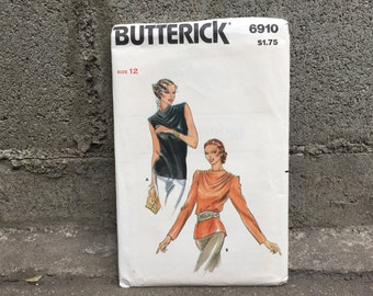 70's Butterick 6910 Pattern Misses' Blouse Size 12 Bust 34 - Factory Folded FF