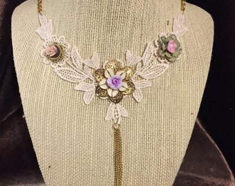 Venetian Flowers and Lace Necklace