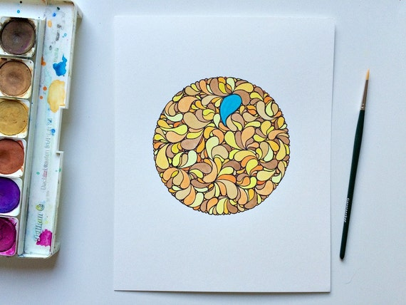 Late Summer Vibes - Original watercolour painting, watercolor art brown and yellow circle doodle, pen drawing watercolor, detailed doodle