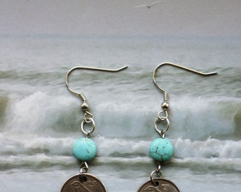 Vintage Norway 25 Ore, Coin Earrings, Coin with Bird (Siberian Tit), Bird Coin