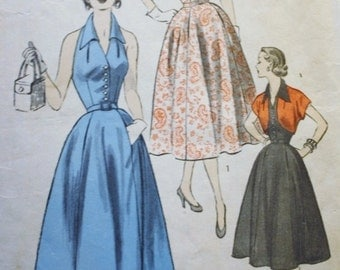 1950s Halter Dress Pattern/ Bolero Sewing Pattern/ Advance 6397 /Bust 32 /ORIGINAL NOT A REPRODUCTION