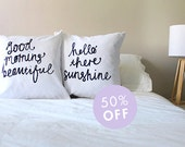 His and Hers Couple Cushions Hello There Sunshine & Good Morning Beautiful Pillow Cover set 18 x 18 inch
