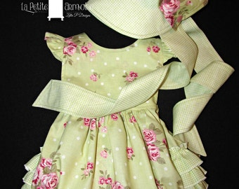Baby girl ruffle romper bubble suit 3 - 6 mos ready to ship MADE in the USA M2M bonnet available