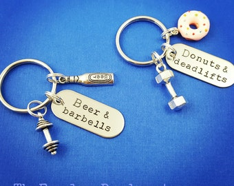 Donuts and Deadlifts Keychain, Beer and Barbells Keychain, Weightlifting Keychains, Fitness Motivation, Exercise Jewelry, Dumbbells, Donuts