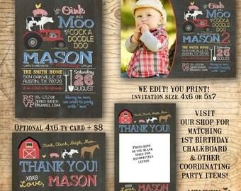 Farm birthday invitation - Farm invitation - Farm animal birthday invite - Barnyard party invitation - You print chalkboard birthday invite