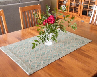 Jade Green and Tan Table Runner, Handwoven Table Runner Green, Green and Straw Runner, Graphic Diamond Runner, Green Coffee Table Runner