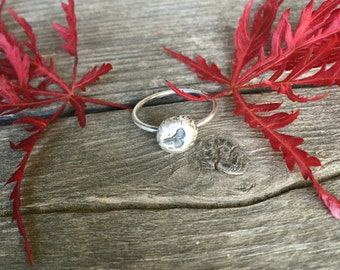 Sterling Silver Bird Ring, Silver Nugget Ring, Stacking Ring, Layering Ring, Graduation Gift, Bird Lover Gift, Organic Ring Size 5