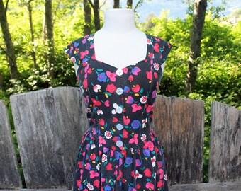 80's Cotton Dress Black Floral