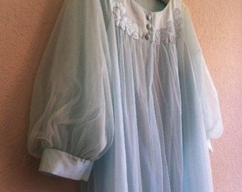 Pale Blue Vintage Bathrobe With Roses