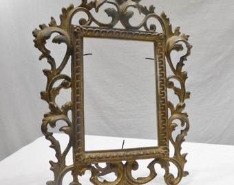 Antique Cast Iron Ornate Decorative Frame Victorian Free Standing Gold Bronze Frame