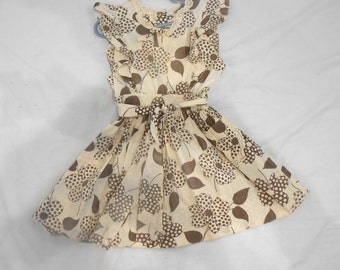 Vintage Childs Dress Prissy Missy Pinafore Cotton Full Skirt Brown Flowers