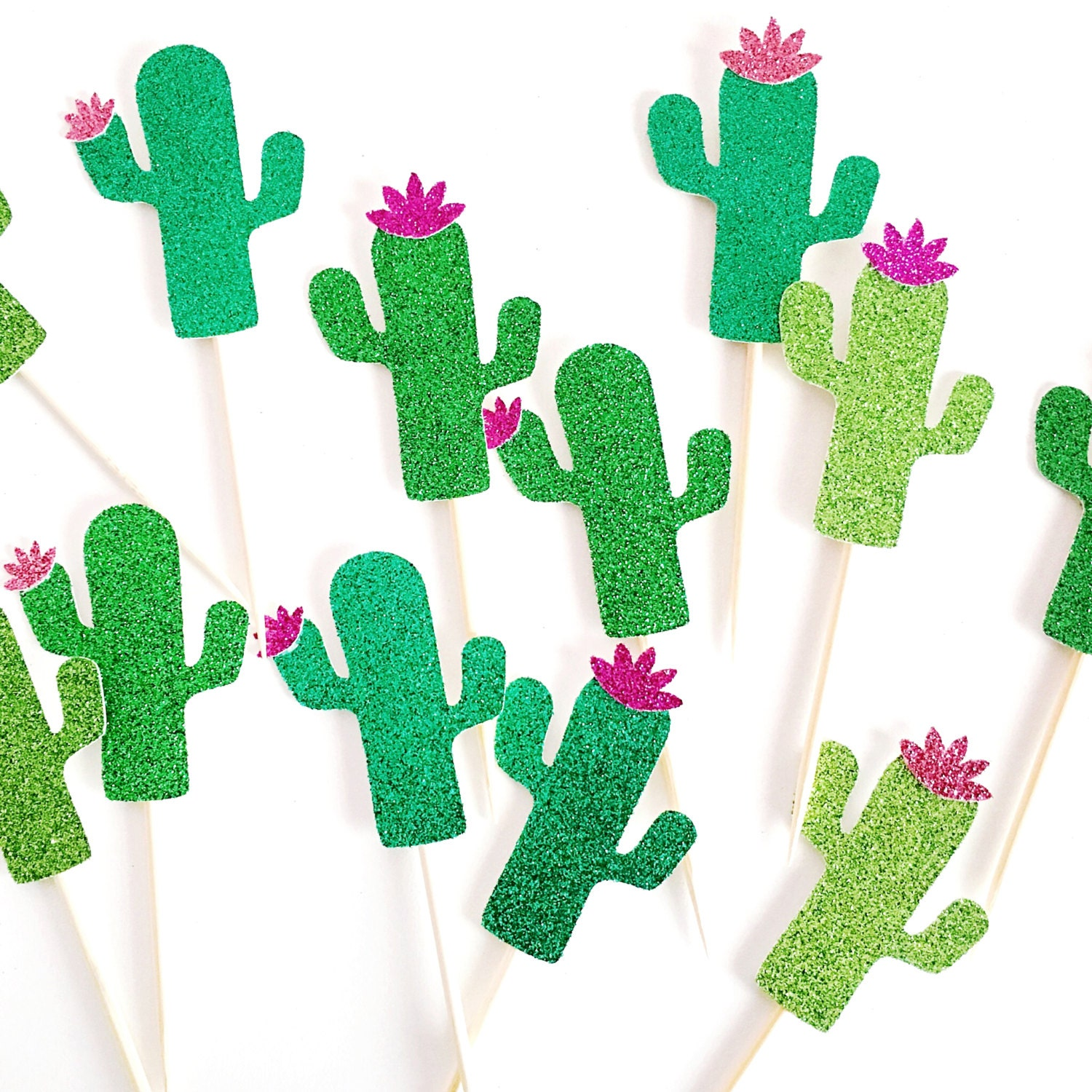 glitter cactus party decor 12 cupcake toppers taco party. Black Bedroom Furniture Sets. Home Design Ideas