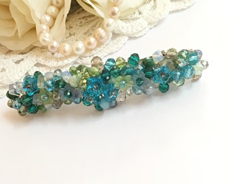 Wire wrapped jewelry handmade barrette hair clip combined with natural fluorite stones. Charming hair jewelry piece. Pretty headpiece.