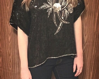 Vintage black sequin beaded top trophy top blouse silver sequin blouse sequin flower top party top evening top silk blouse