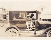 RESERVED Antique Snapshot photo of Boy Sitting in Automobile With Old Time Gangsters