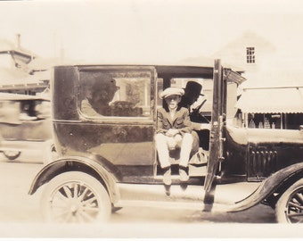 Antique Snapshot photo of Boy Sitting in Automobile With Old Time Gangsters