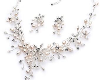 Bridal Accessories, Pearl Bridal Jewelry, Pearl and Rhinestone Jewelry Set, Elegant Bridal Jewelry Set,Bride, Bridesmaids Jewelry  ~JS-1625