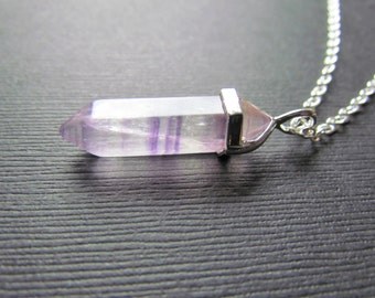 Pendulum Necklace - Striped Purple Fluorite Point Pendant - Purple Jewelry