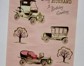 Vintage Unused Embossed Birthday Greeting Card To My Husband A Birthday Greeting Featuring Cool Antique Cars with Gold Accents Card for Him
