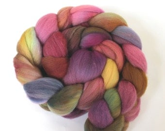 4oz SuperFine Merino Combed Top 'Asters' Roving Dyed Wool Spinning Fiber Indie