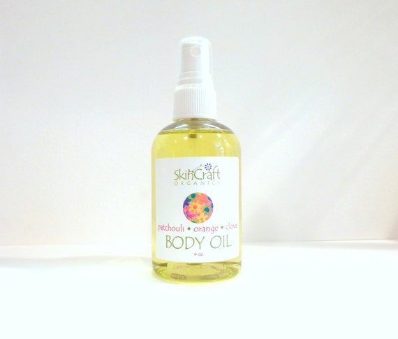 Natural Patchouli Body Oil / Bath Oil / Massage Oil w/ Orange & Clove -  All Skin Types - Vegan 4 oz