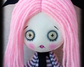 Reserved Pastel goth creepy cute doll Lola handmade zombie goth cloth doll with white button eyes and skulls. Goth rag doll. Goth cloth doll