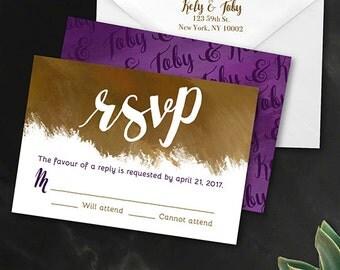 Reply Card | Digital RSVP Card | Printed RSVP Card | Printed Reply Card |Digital Reply Card | Glampersand Painted Modern