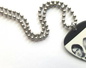Nirvana Guitar Pick Necklace with Stainless Steel Ball Chain - music - black and white