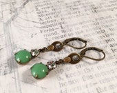 Vintage Rhinestone Earrings - Jadeite Green and Crystal
