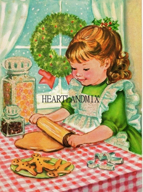 Lil Girl Baking Ginger... Animated Christmas Greeting Cards Free Download