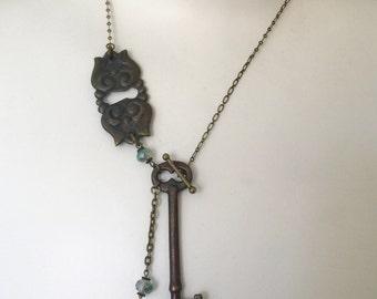 Key Necklace - Antique Hardware Jewelry - Skeleton Key Necklace - Lock And Key Jewelry