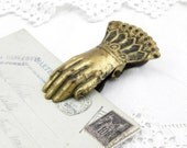 Antique French Metal Clip Hand Shaped Paper Clip, Antique Office Equipment, Letter, Paper Weight, Retro Vintage Interior, Bulldog Clip