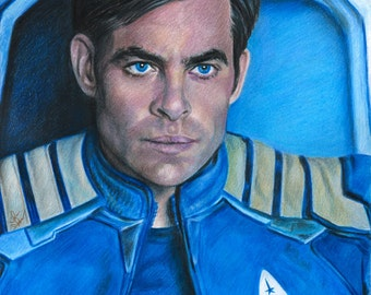 Drawing of Chris Pine as Captain Kirk in Star Trek: Beyond
