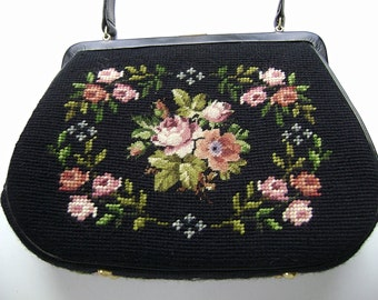 Vintage Switkes Black Handbag, Floral Needlework, Switkes Tapestry, Vintage Purse, Embroidered Purse, Kelly Bag, Gold Trim