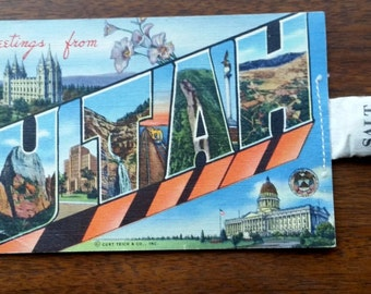 Vintage Utah Route 66 postcard with bag of salt novelty souvenir
