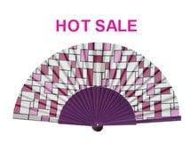 FOLDING FAN, retro print, geometric design, eco friendly, fashion accessories, hand fan, purple, Free Shipping Worldwide