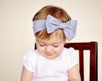 Gray Head wrap,  Bow Headband. Baby girl, newborn , Headwrap turban boho cotton grey