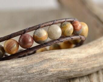 Bohemian chic cuff bracelet. Rustic beaded single wrap bracelet