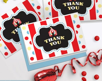 Circus Carnival Printable Folded Thank You Notes INSTANT DOWNLOAD