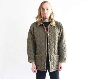 Vintage 90s Quilted Olive Green Jacket