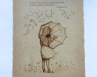 Vintage Inspired Sketch on Handmade Paper - Available with or without the quote