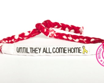 Until they all come home bracelet, Red friday bracelet, Military support bracelet, Deployment bracelet, Military yellow ribbon, Remember