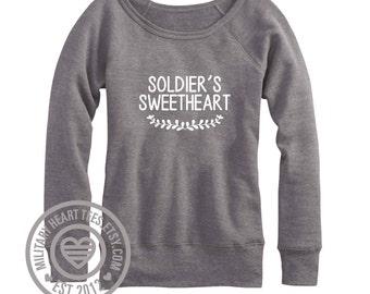Soldier's Sweetheart wide neck off shoulder sweatshirt, Army sweatshirt, Army wife girlfriend sweatshirt Army shirt I love my soldier