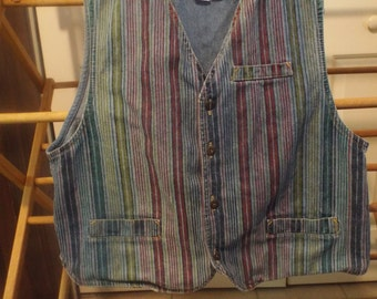 Denim Jean Vest Striped Size Med Women's