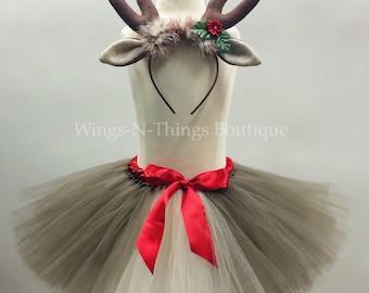 ADULT REINDEER Tutu Skirt Set w/ Antler Headband, Women's Christmas Costume, Photo Prop, Rudolph, Deer, Holiday Party, Teen, Adult, Woman