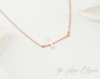 Rose gold or silver or gold sideways cross bracelet. Rose gold cross bracelet. Dainty cross bracelet
